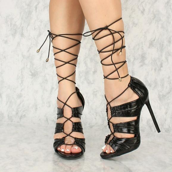 Fashion Nova Shoes - 🖤Sexy shiny black lace up heels